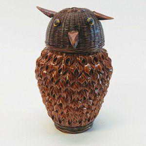 Other - Vintage Mid Century Handicrafts Owl Wicker Basket